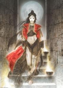Frau auf der Treppe - Luis Royo 1000 Teile Puzzle - Heye