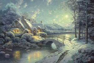 Winterliches Mondlicht -Thomas Kinkade 500 Teile Querformat Puzzle - Schmidt Spiele